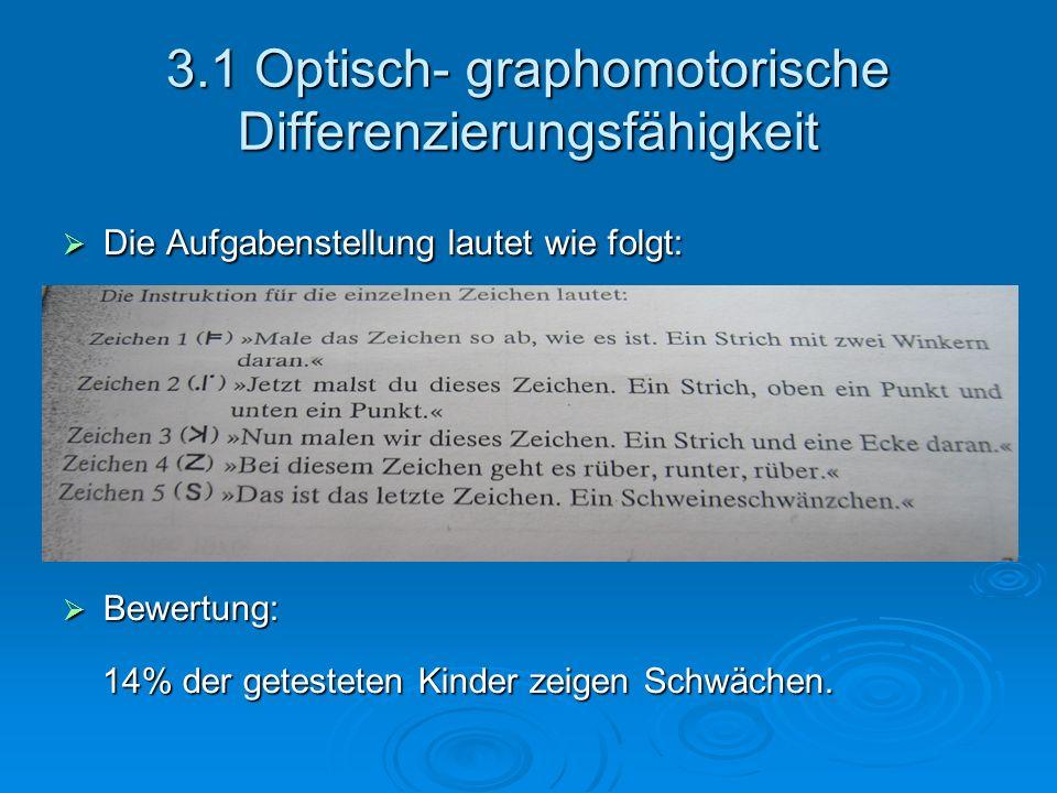 3.1 Optisch- graphomotorische Differenzierungsfähigkeit