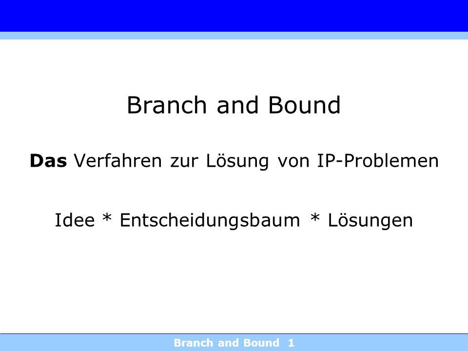 Branch and Bound Das Verfahren zur Lösung von IP-Problemen