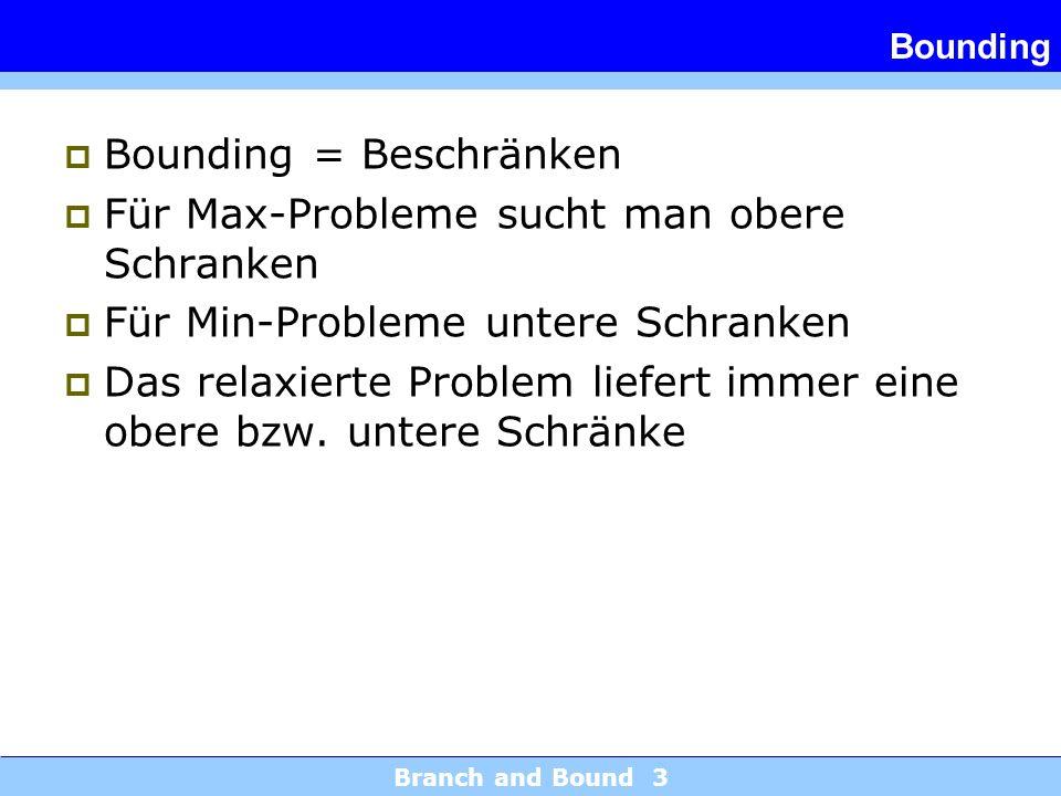 Bounding = Beschränken Für Max-Probleme sucht man obere Schranken