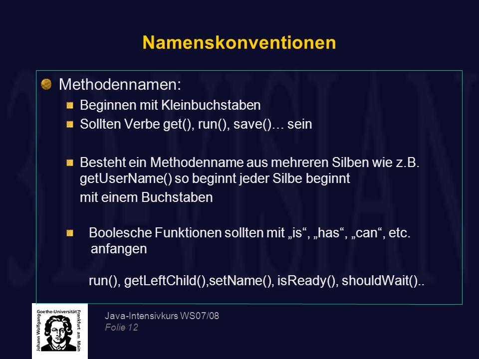 Namenskonventionen Methodennamen: Beginnen mit Kleinbuchstaben