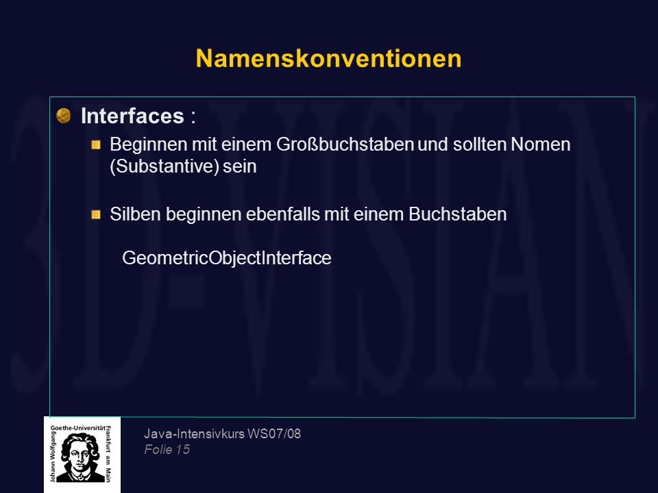 Namenskonventionen Interfaces :