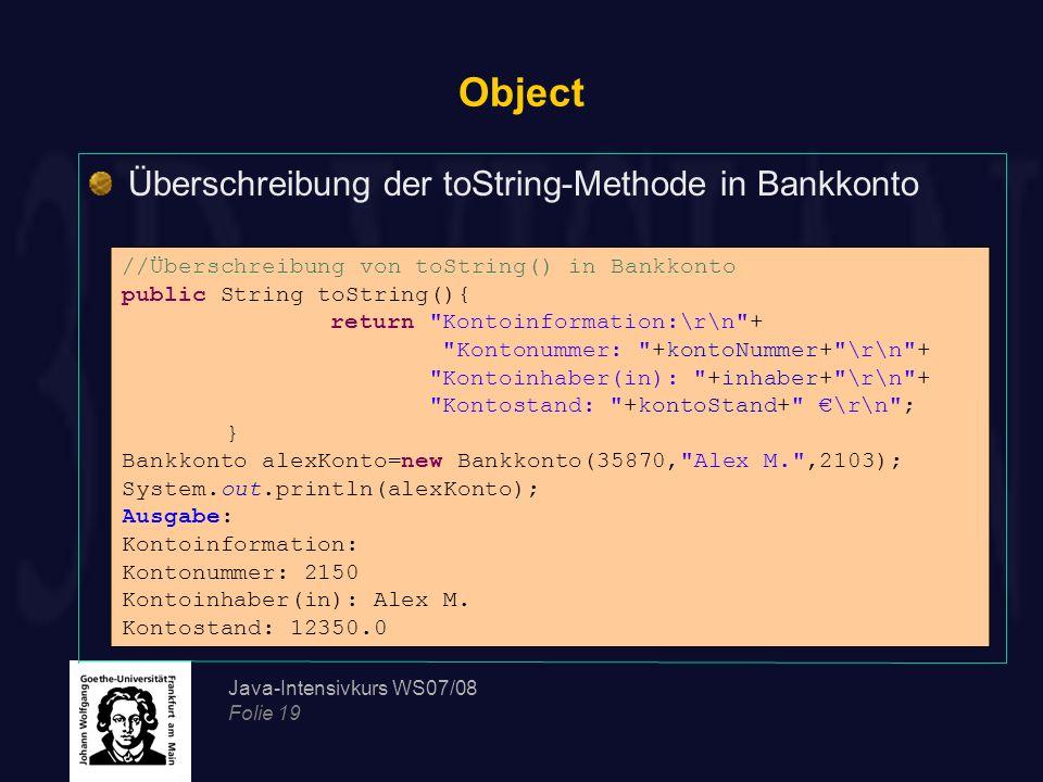 Object Überschreibung der toString-Methode in Bankkonto