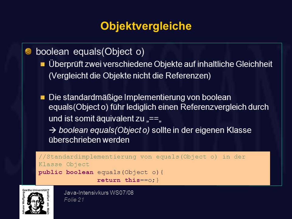 Objektvergleiche boolean equals(Object o)