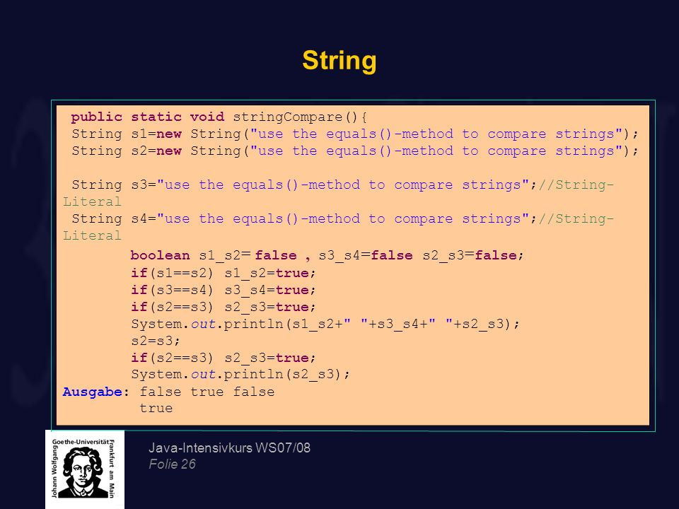 String public static void stringCompare(){