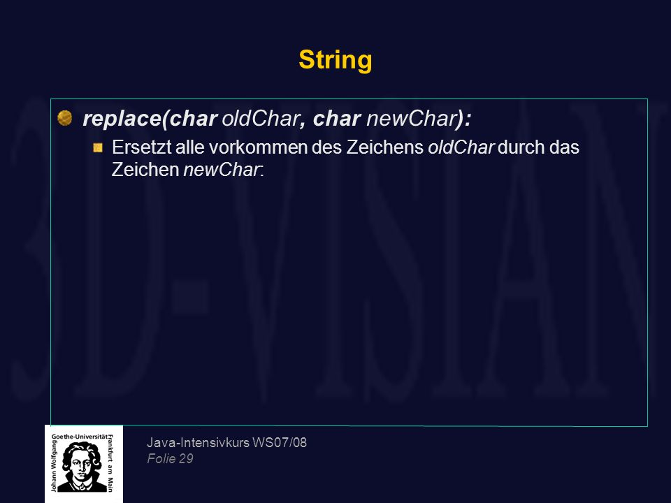 String replace(char oldChar, char newChar):