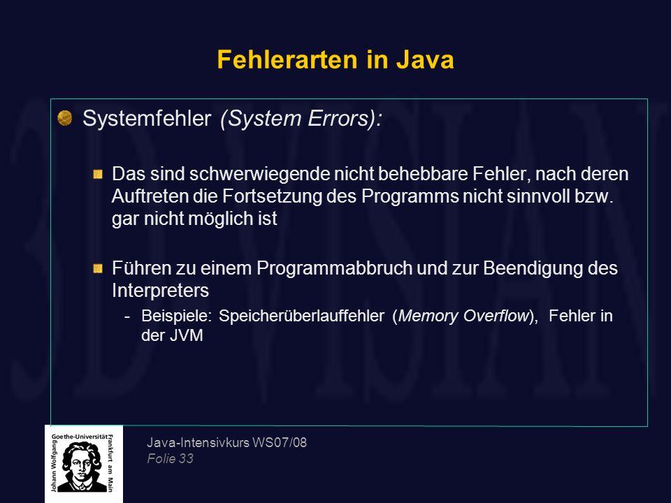 Fehlerarten in Java Systemfehler (System Errors):
