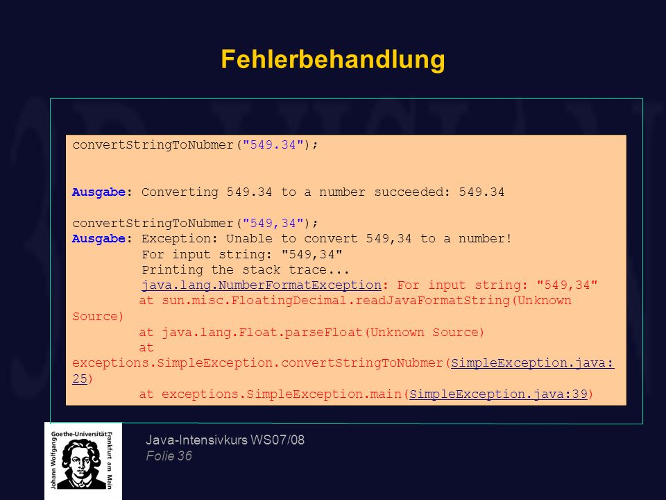 Fehlerbehandlung convertStringToNubmer( 549.34 );