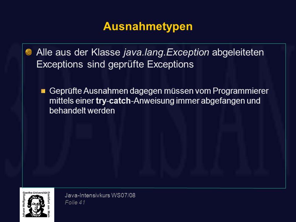 Ausnahmetypen Alle aus der Klasse java.lang.Exception abgeleiteten Exceptions sind geprüfte Exceptions.