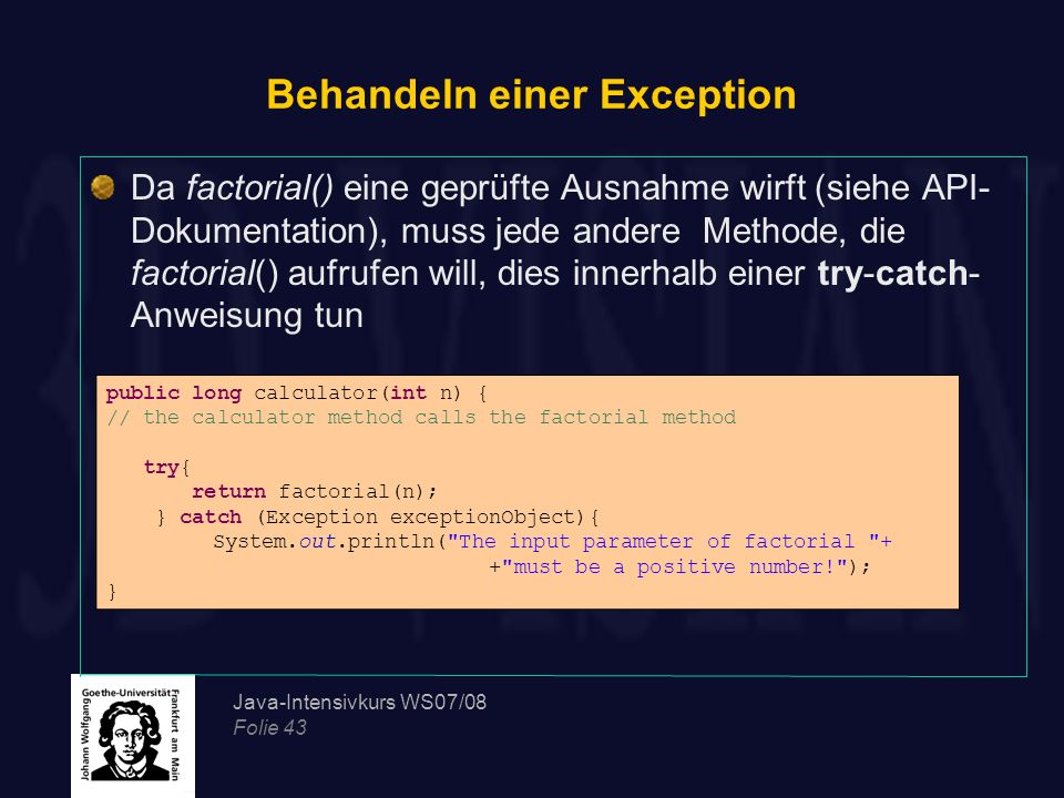 Behandeln einer Exception