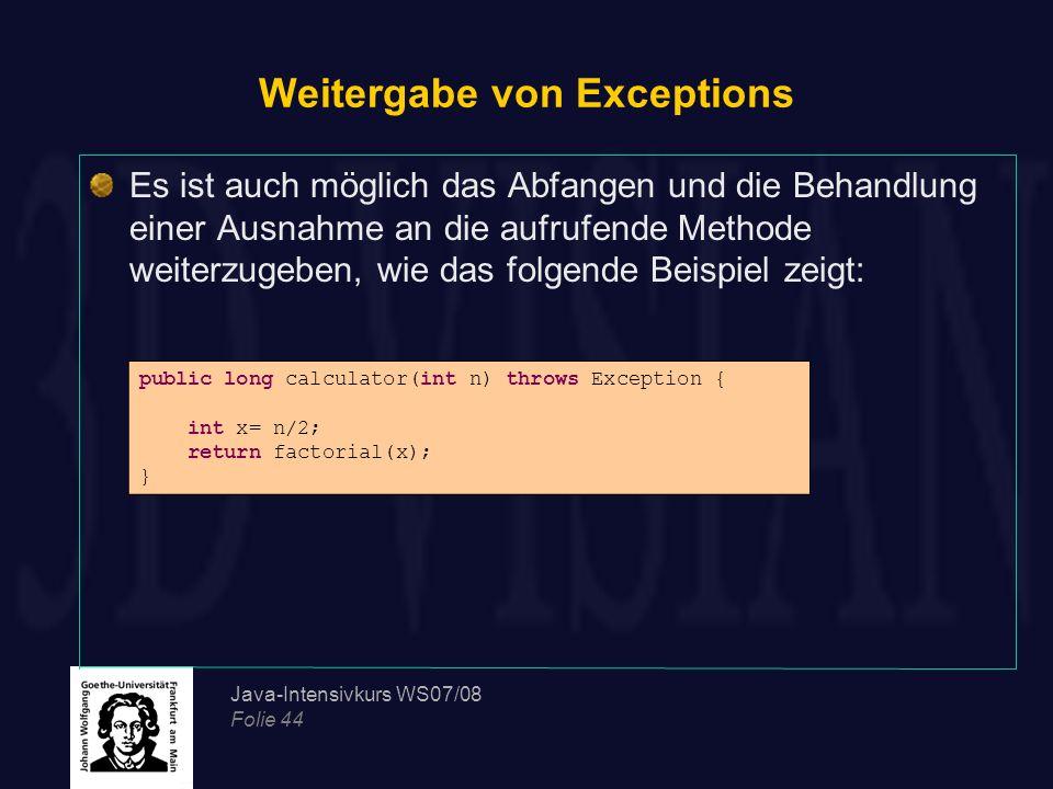 Weitergabe von Exceptions