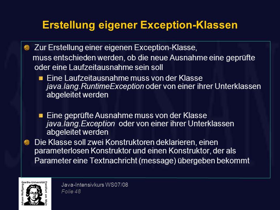 Erstellung eigener Exception-Klassen