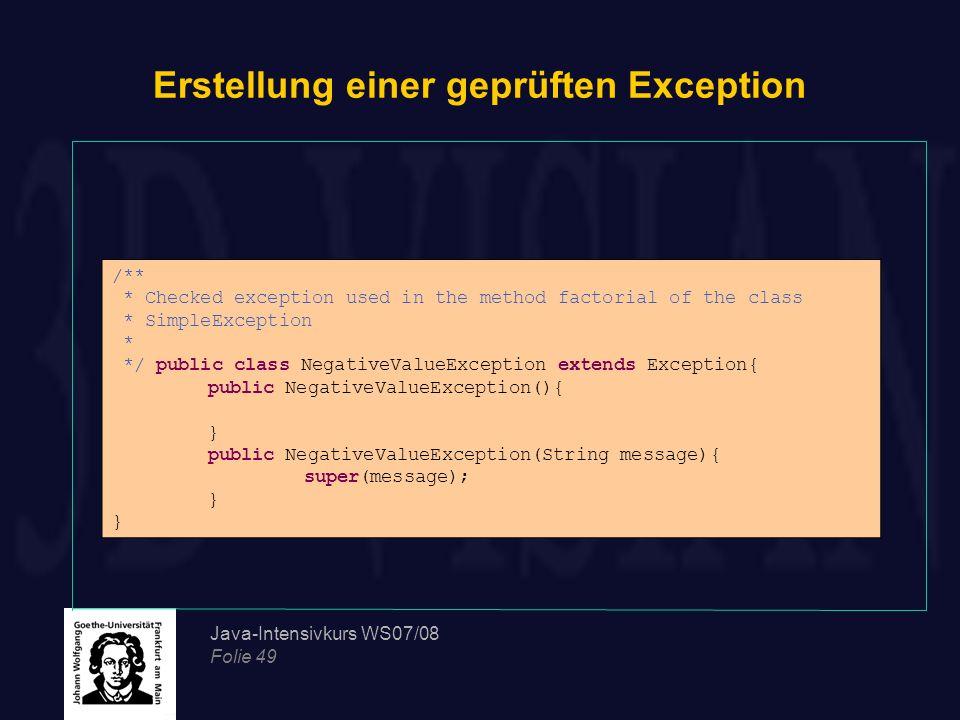 Erstellung einer geprüften Exception