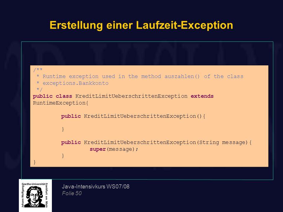 Erstellung einer Laufzeit-Exception