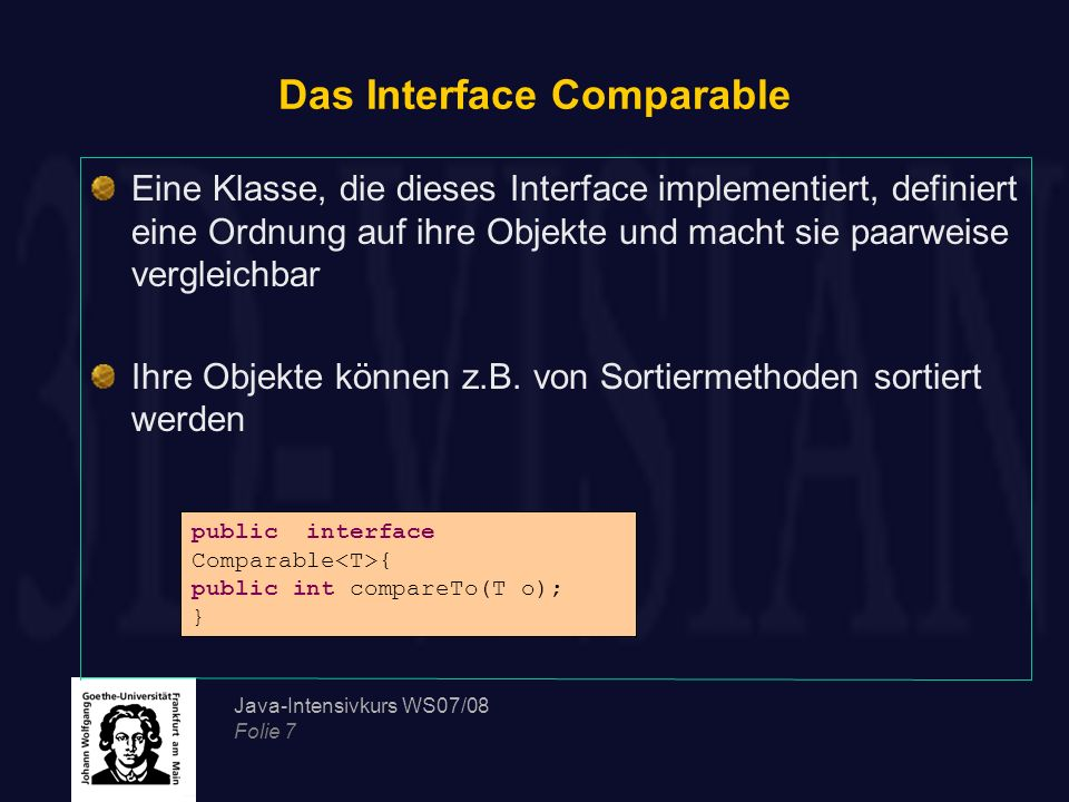 Das Interface Comparable