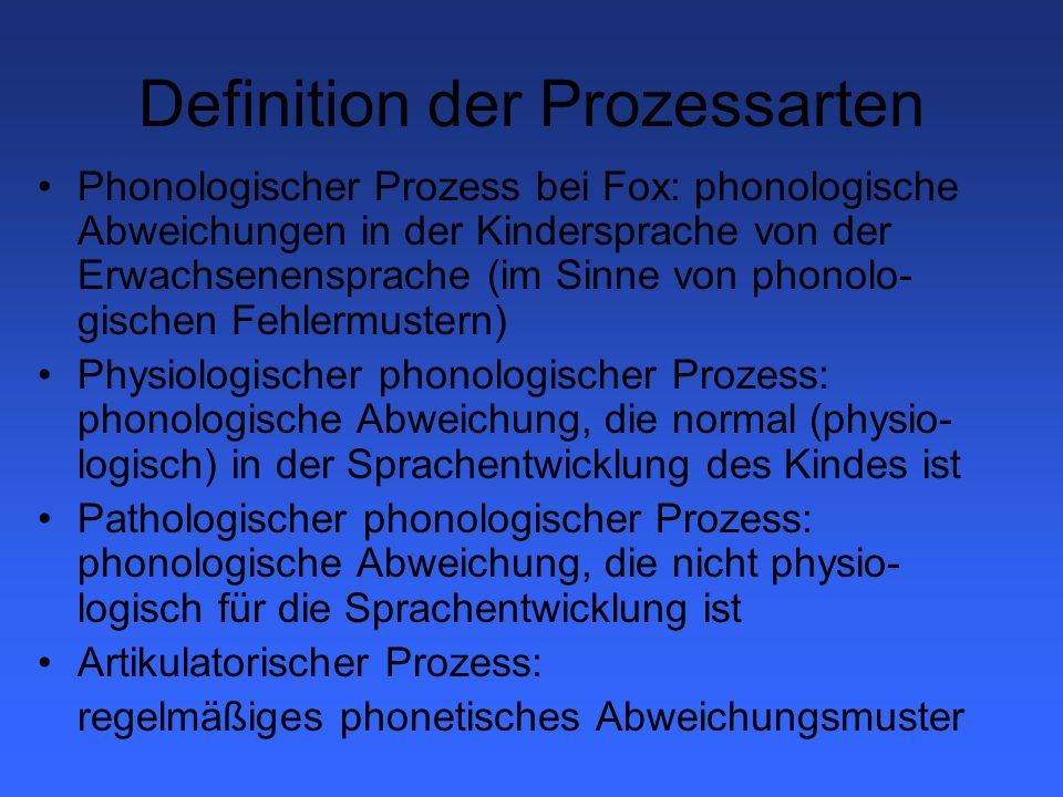 Definition der Prozessarten