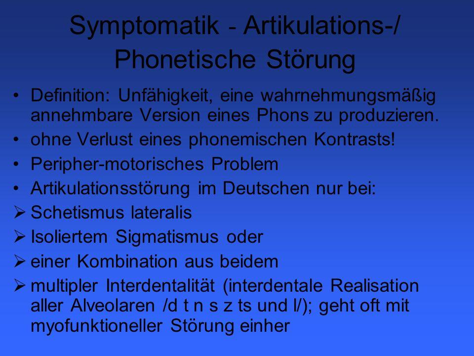 Symptomatik - Artikulations-/ Phonetische Störung