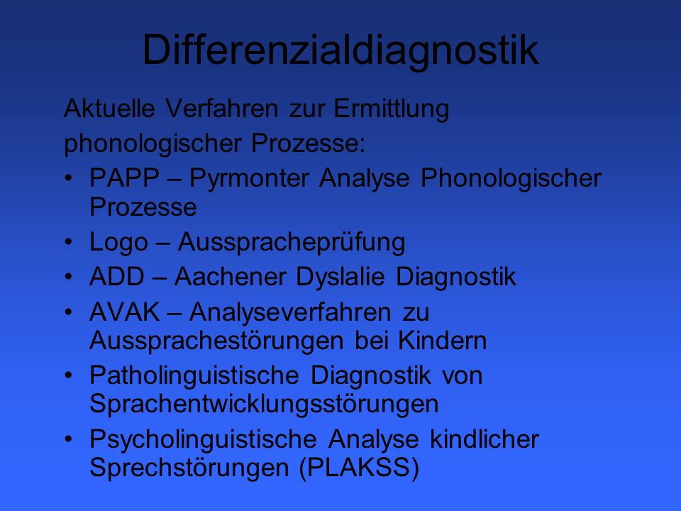 Differenzialdiagnostik