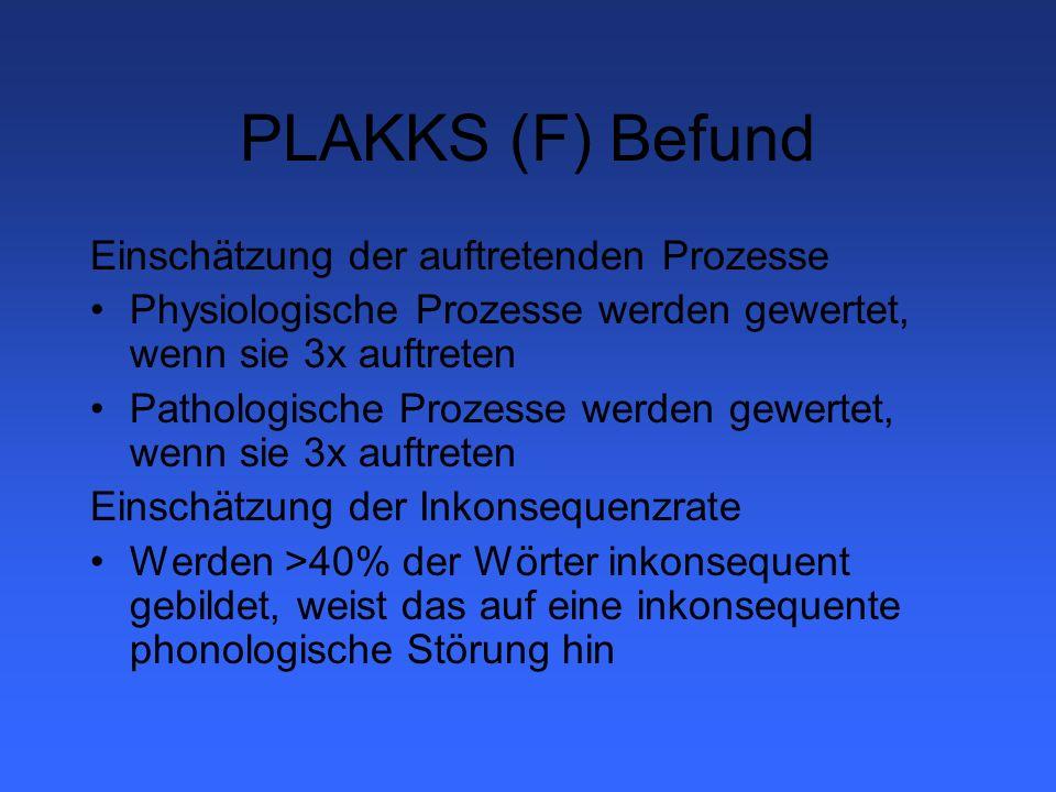 PLAKKS (F) Befund Einschätzung der auftretenden Prozesse