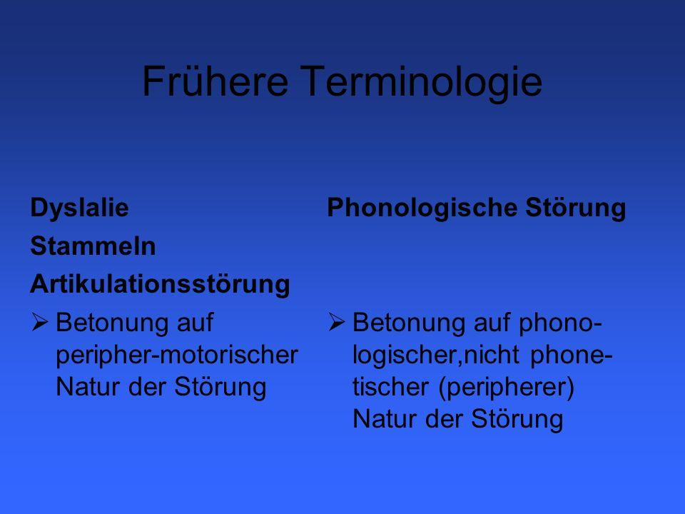 Frühere Terminologie Dyslalie Stammeln Artikulationsstörung