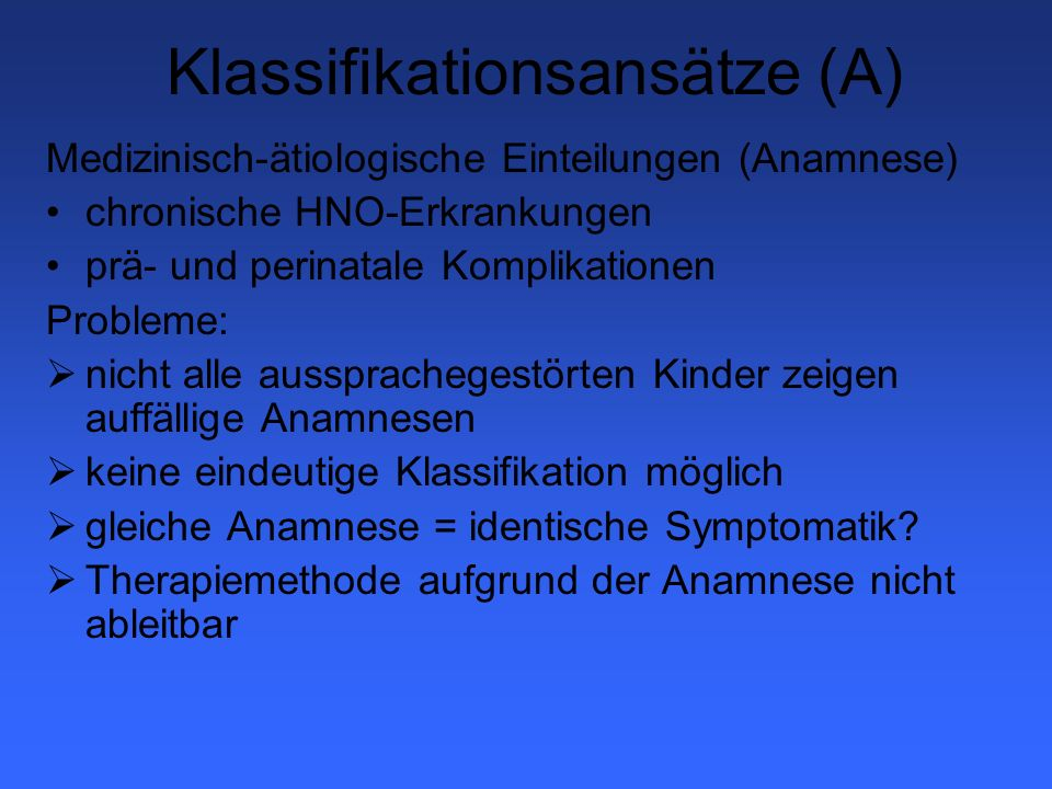 Klassifikationsansätze (A)