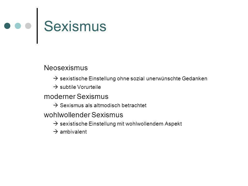 SexismusNeosexismus.  sexistische Einstellung ohne sozial unerwünschte Gedanken.  subtile Vorurteile.