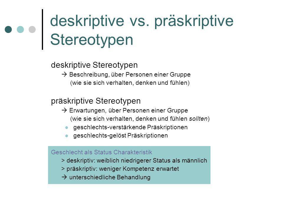 deskriptive vs. präskriptive Stereotypen