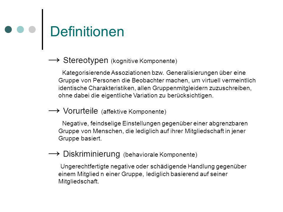 Definitionen → Stereotypen (kognitive Komponente)