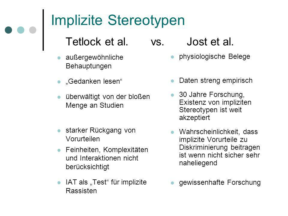 Implizite Stereotypen Tetlock et al. vs. Jost et al.