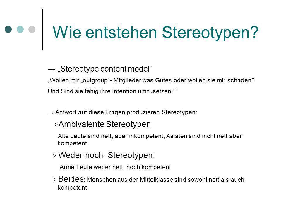 Wie entstehen Stereotypen