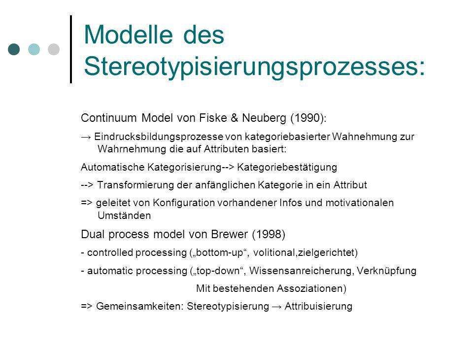 Modelle des Stereotypisierungsprozesses: