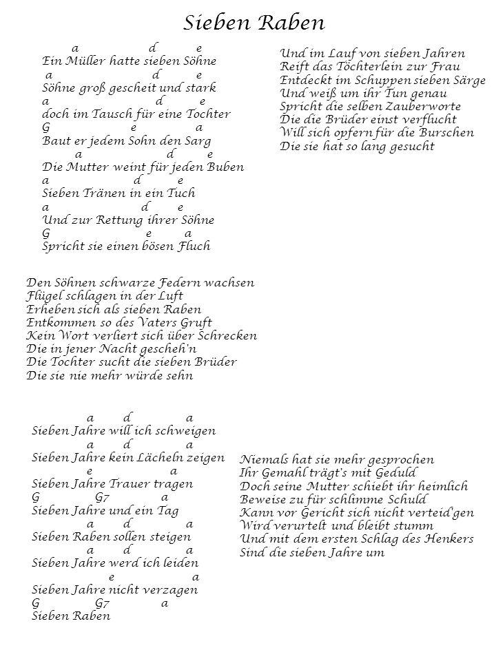 Sieben Raben a d e Ein Müller hatte sieben Söhne