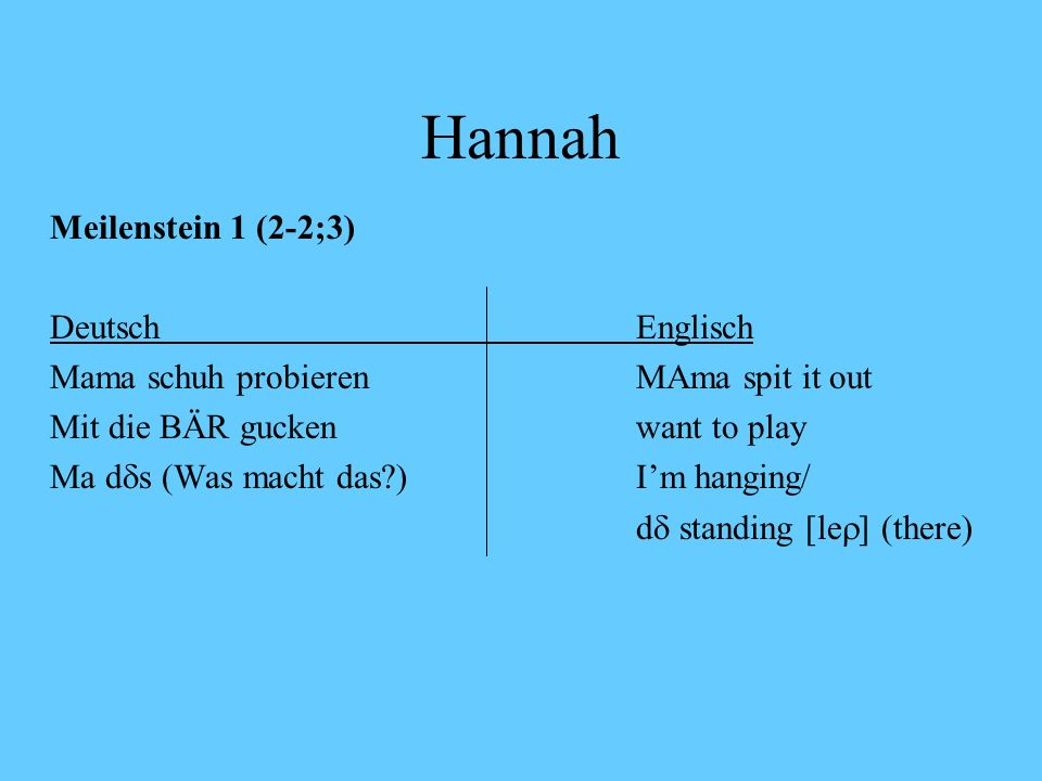 Hannah Meilenstein 1 (2-2;3) Deutsch Englisch