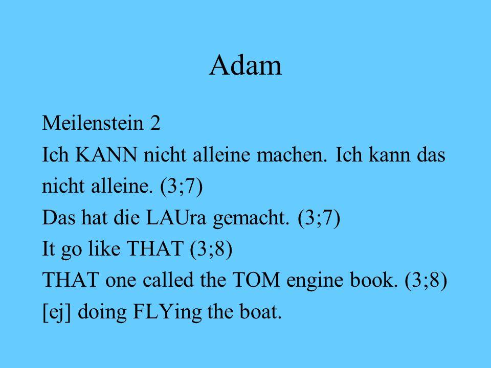 Adam Meilenstein 2 Ich KANN nicht alleine machen. Ich kann das