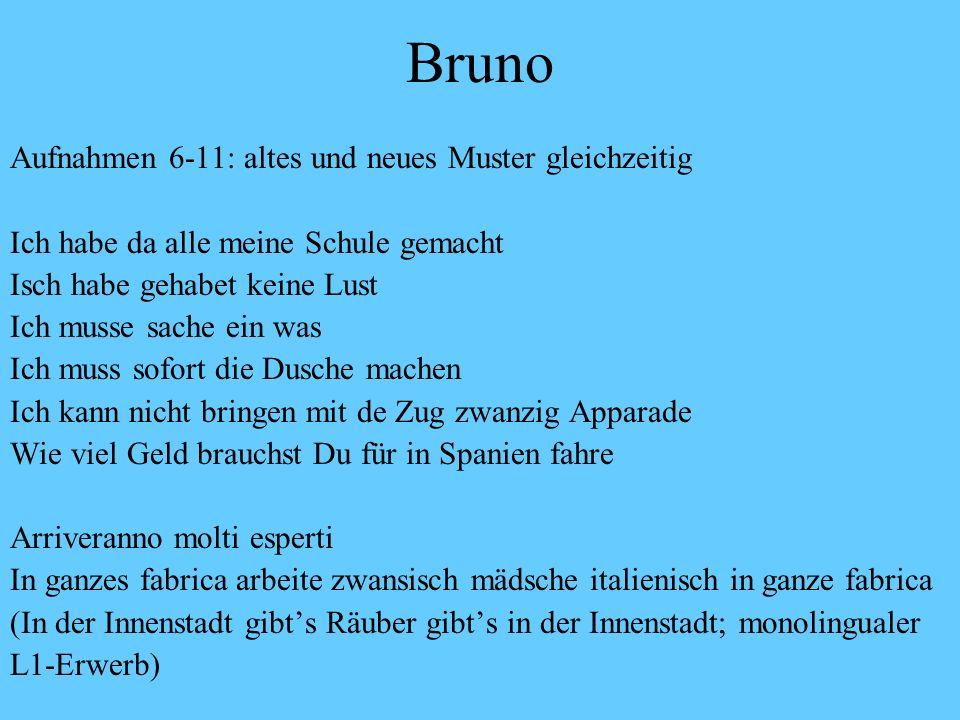 Bruno Aufnahmen 6-11: altes und neues Muster gleichzeitig