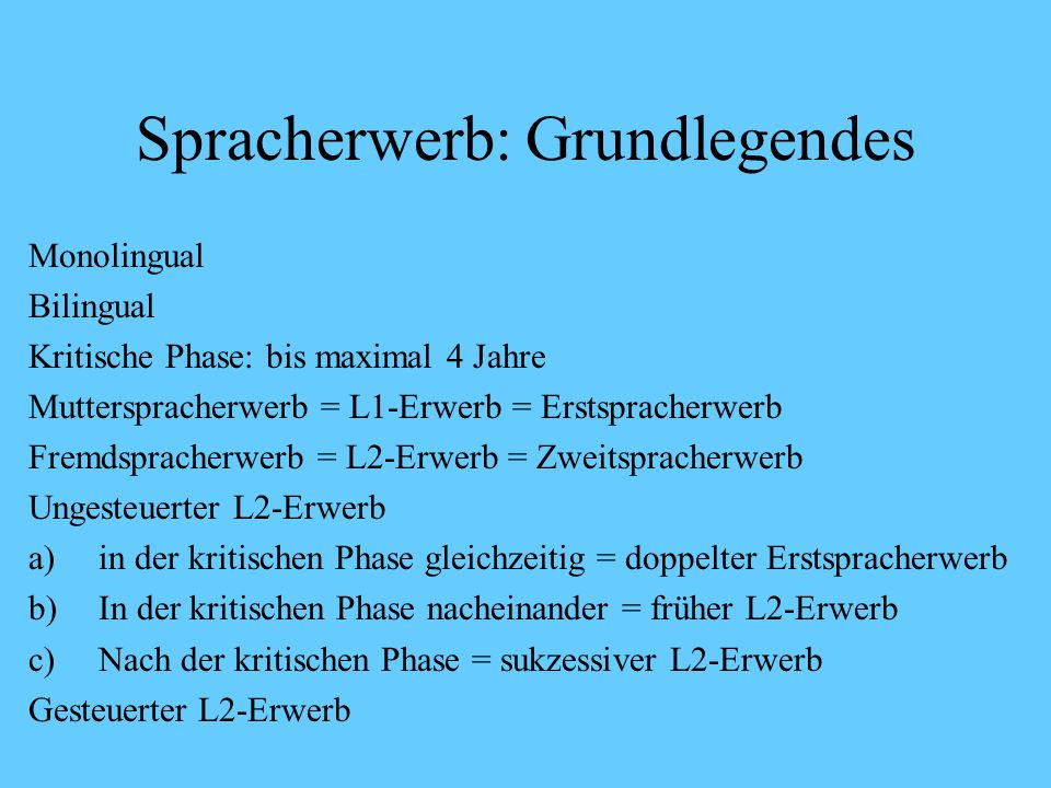 Spracherwerb: Grundlegendes