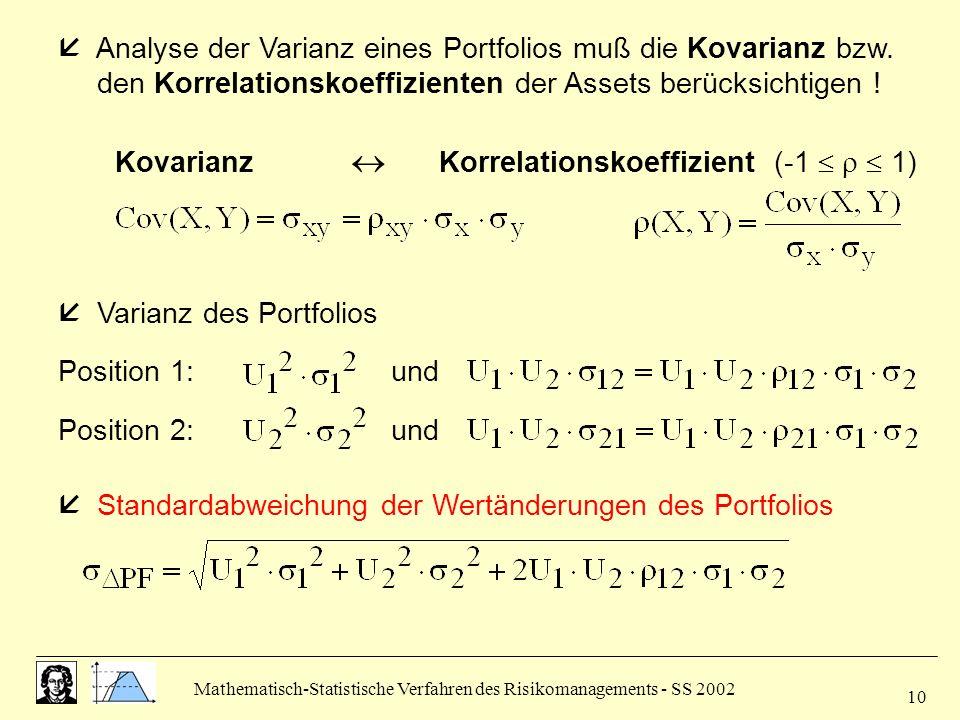 Kovarianz  Korrelationskoeffizient (-1    1)