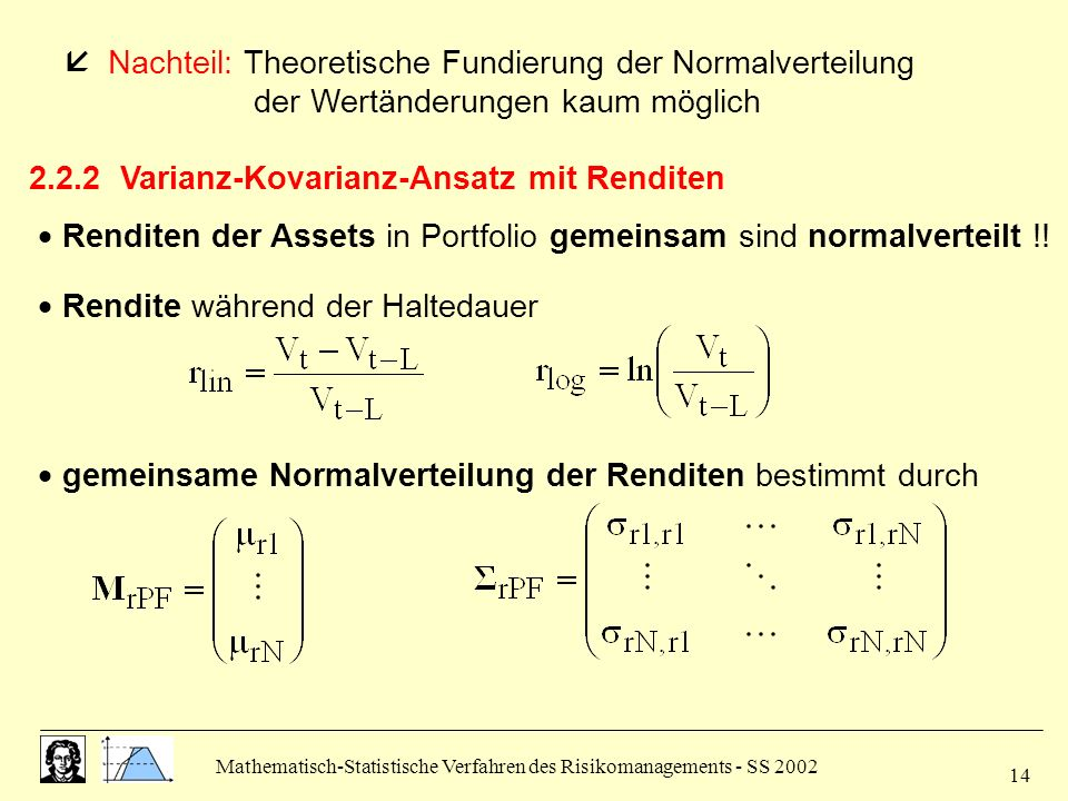 2.2.2 Varianz-Kovarianz-Ansatz mit Renditen