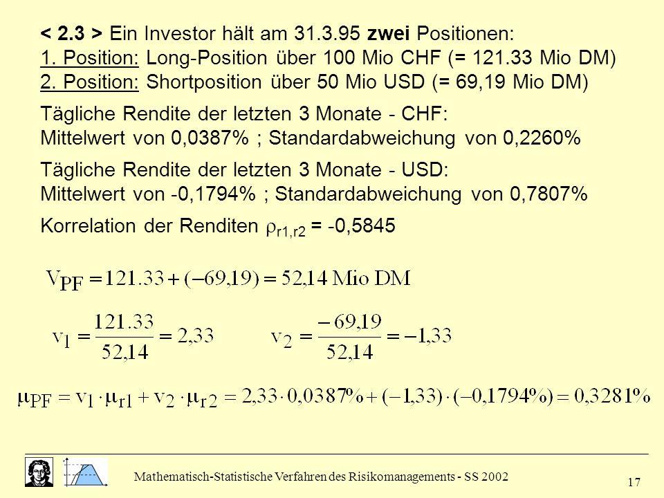 < 2.3 > Ein Investor hält am 31.3.95 zwei Positionen: