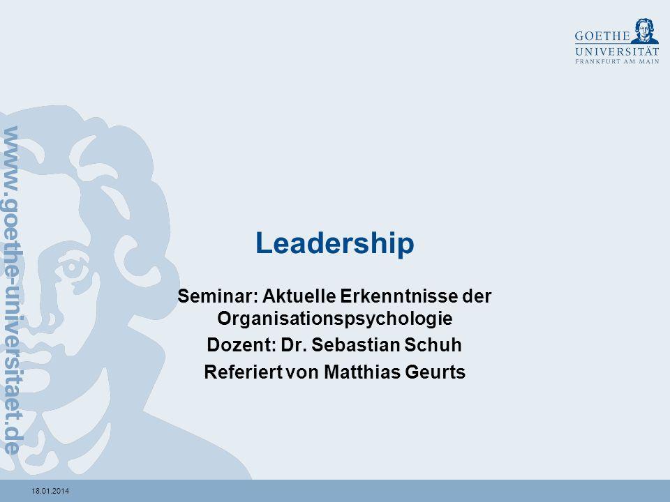 Leadership Seminar: Aktuelle Erkenntnisse der Organisationspsychologie