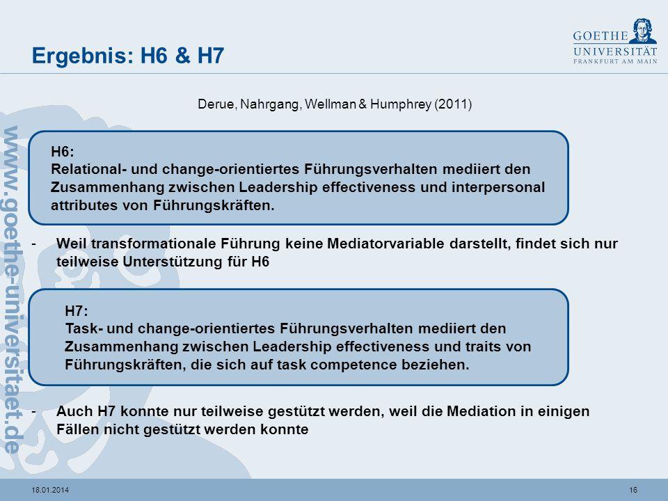 Ergebnis: H6 & H7 Derue, Nahrgang, Wellman & Humphrey (2011) H6: