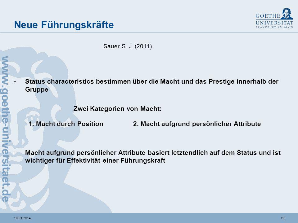 Neue Führungskräfte Sauer, S. J. (2011) Status characteristics bestimmen über die Macht und das Prestige innerhalb der Gruppe.