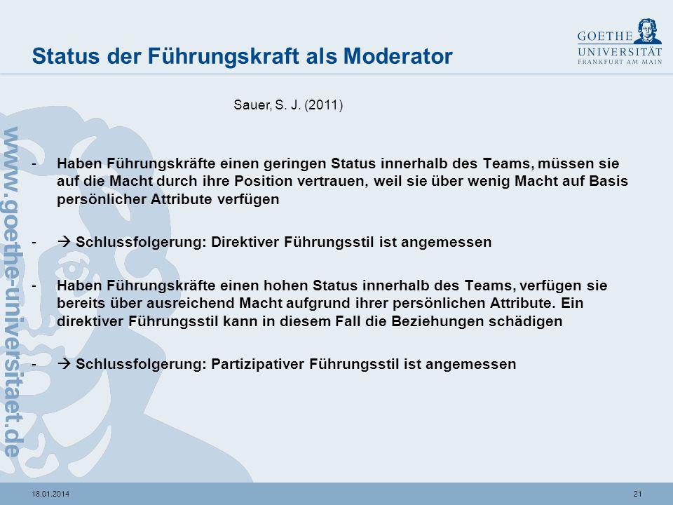 Status der Führungskraft als Moderator