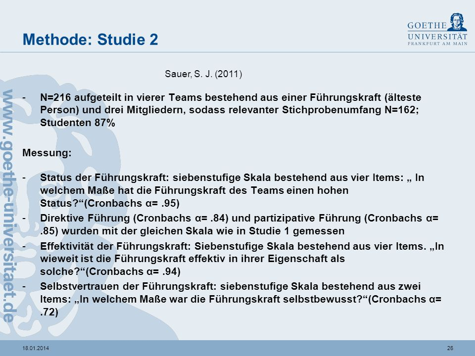 Methode: Studie 2 Sauer, S. J. (2011)