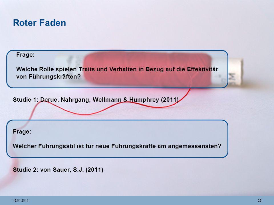 Roter Faden Studie 1: Derue, Nahrgang, Wellmann & Humphrey (2011) Studie 2: von Sauer, S.J. (2011)
