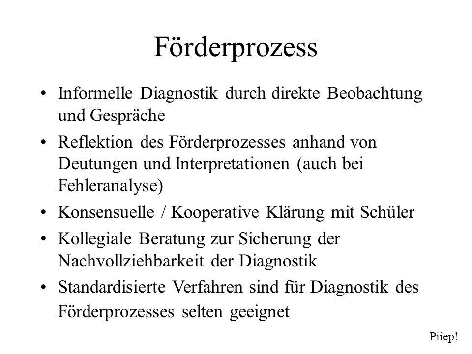 Förderprozess Informelle Diagnostik durch direkte Beobachtung und Gespräche.
