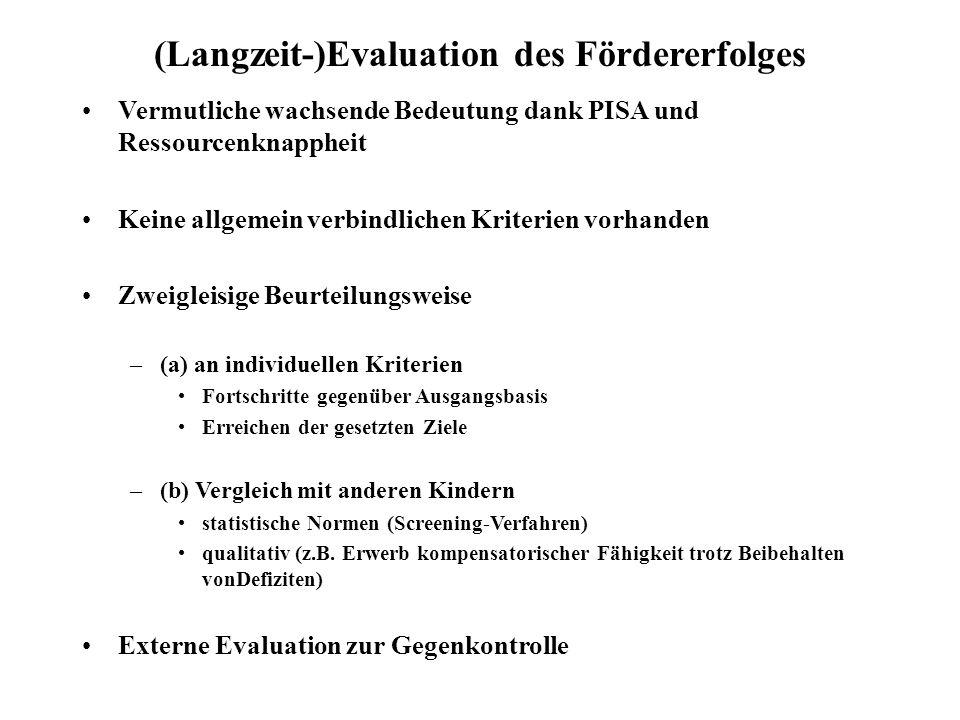 (Langzeit-)Evaluation des Fördererfolges