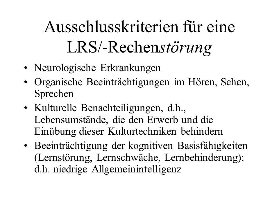 Ausschlusskriterien für eine LRS/-Rechenstörung
