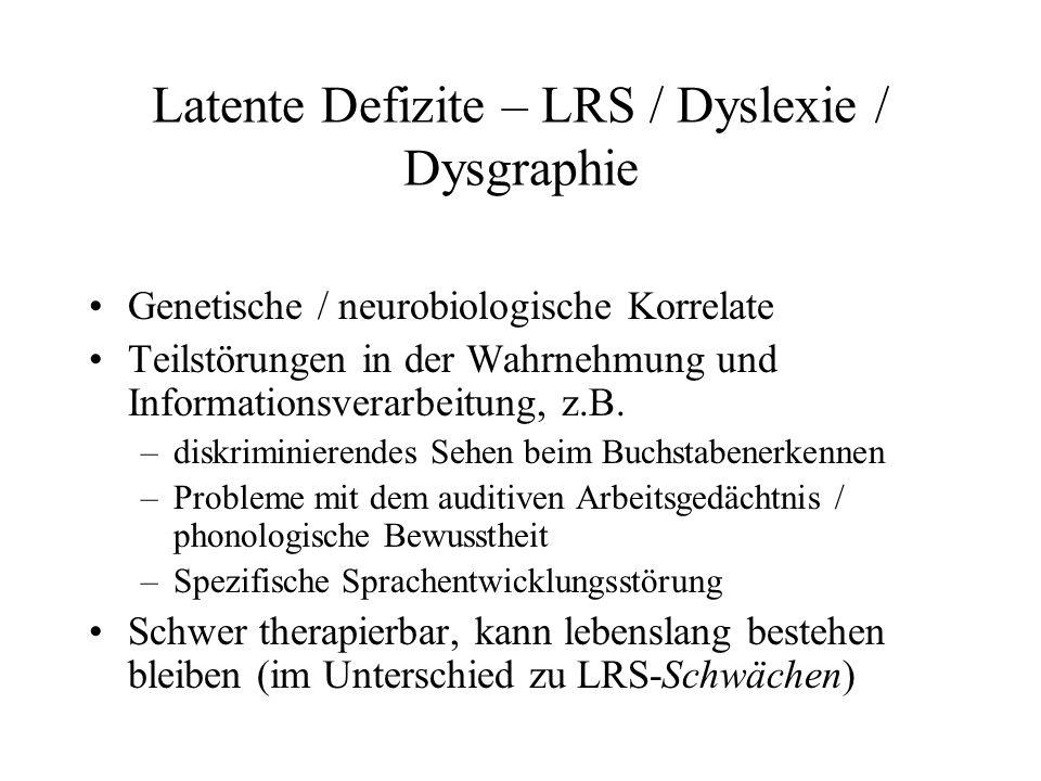 Latente Defizite – LRS / Dyslexie / Dysgraphie