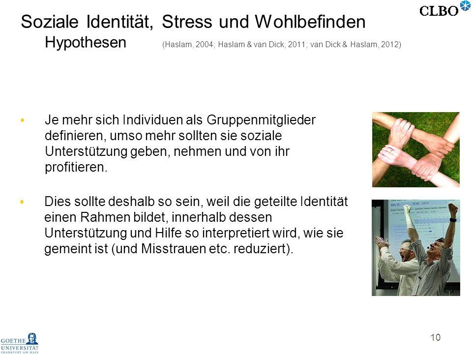 Soziale Identität, Stress und Wohlbefinden Hypothesen