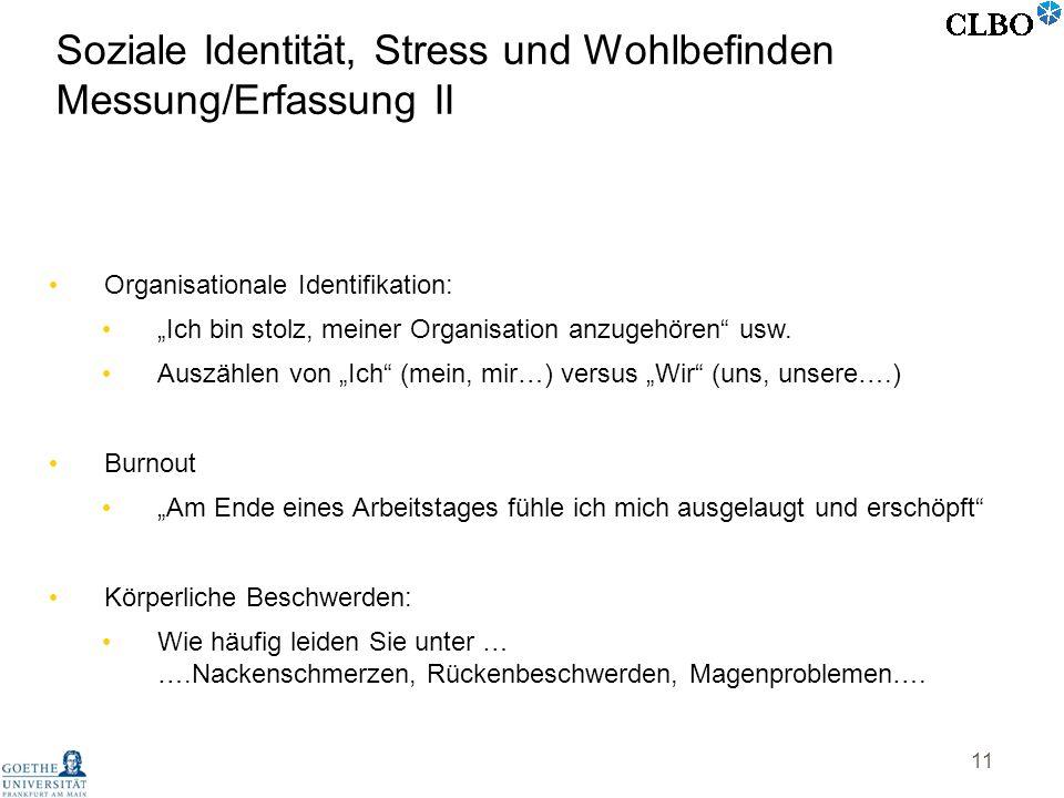 Soziale Identität, Stress und Wohlbefinden Messung/Erfassung II